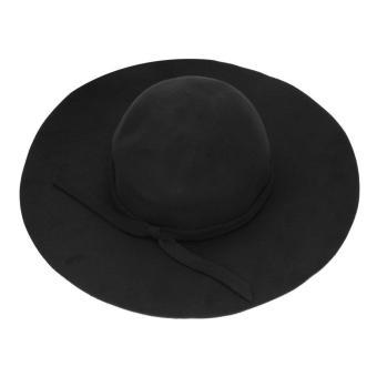 OH New Vintage Women Lady Wool Felt Floppy Wide Brim Fedora Bowler Cloche Hat Cap Black - intl