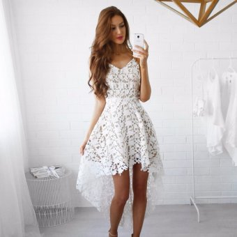 Fancyqube Spring summer new lace harness dress v fashion hollow collar irregular multicolor dress White - intl