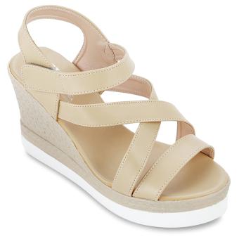 Giày Sandals Đế Xuồng Nữ Lucky Việt 513-8074 (Kem)