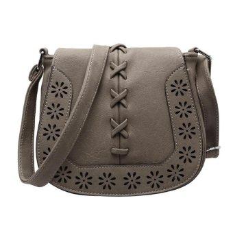 niceEshop Vintage PU Leather Carved Pattern Shoulder Crossbody Bag For Womens Girls Khaki - intl