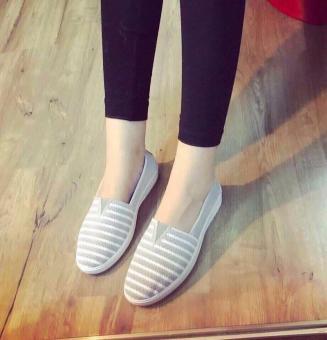 Giày Mọi Thời Trang Nữ Kẻ Sọc - LN1254 - Xám