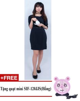 Đầm midi công sở Korea Zaskin ZA01D11 + Tặng quạt mini shinil SIF-120JJS (Hồng)