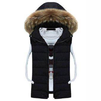 Cyber COOFANDY Men's Winter Warm Casual Detachable Hooded Zip Up Vest Waistcoat Tops (Black) - Intl