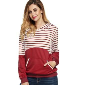 Cyber Finejo Fashion Casual Women Striped Patchwork Spring Autumn Hoodies (Red) - Intl