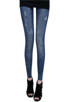 Sunweb Lady Women Stretch Pants Skinny Leggings Jeans ( Blue ) - Intl