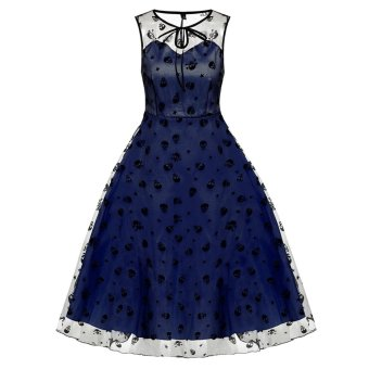 Cyber ACEVOG Retro Women Vintage Style Sleeveless Mesh Embroidery Long Party Cocktail Dress (Blue) - Intl