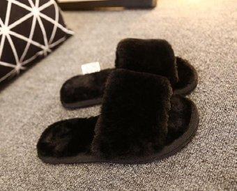 2017 Winter new fluffy women's flat-heeled flat comfort comfortable plush warm slippers home anti-slip plush word slippers (black) - intl