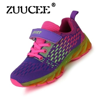 Childrens Shoes Boys And Girls Sports Shoes Childrensrunning Shoes Boys And Girls Leisure Shoes Summer Comfortable Lightsports Shoes (Purple) - intl