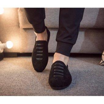 Giày nam slip on da lộn dây ngang SM038 (Đen)