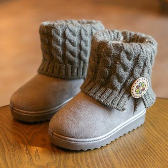Girls Kids Ankle Snow Boots Children Winter Warm Knitt Fur Lined Booties Shoes Gray - intl