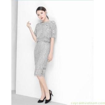 Set áo ren croptop + chân váy bút chì xinh xắn như midu