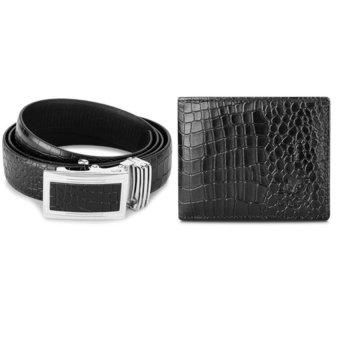 Bộ ví và thắt lưng nam da thật vân cá sấu LAKA (Đen)