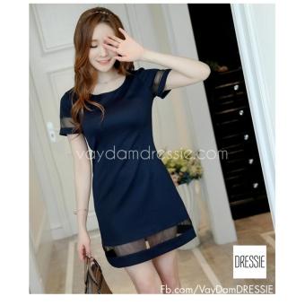 Áo Đầm Đẹp Tuổi 30 Cao Cấp Thời Trang DRESSIE - DS0435A (Xanh Navy)