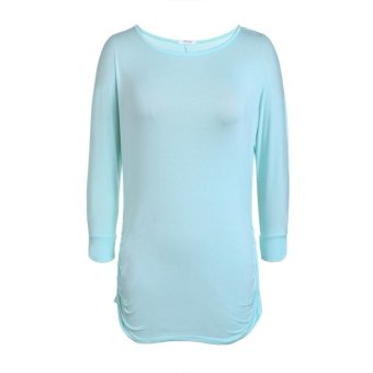 Linemart Meaneor Stylish Ladies Women Casual 3/4 Sleeve Round Neck Solid T-Shirt Top ( Sky Blue ) - intl