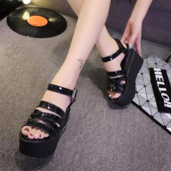 Giày sandal xuồng 4 dây đế chữ S139 (Đen)