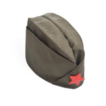 Russian Army Cap Tricorne Green Camo Badge Women Sailor Military Stage Performance Dance Hats Chinese Boat Cap - intl