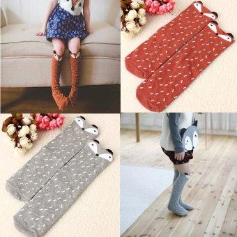 Children Girls Soft Cotton Socks Fox Pattern Hosiery For Age 1-4 Years Coffee - intl