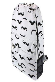 HKS Women Canvas Backpack School Rucksack Beard White - intl