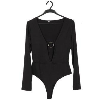 Women V Neck Jumpsuits Front Metal Design Slim Crop Top (Black) - Intl--TC