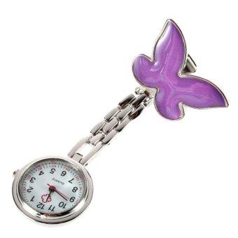 Allwin Cute Pendant Butterfly Nurse Clip-on Brooch Quartz Hanging Pocket Watch New Purple - Intl
