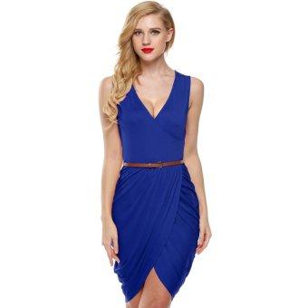 Cyber Meaneor Women Sleeveless Deep Wrap Slim Pencil Dress with Belt (Blue) - Intl