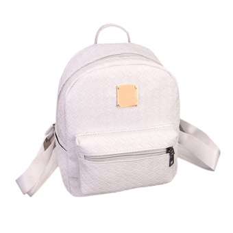 PU Leather Backpack Travel Bag(White) - intl