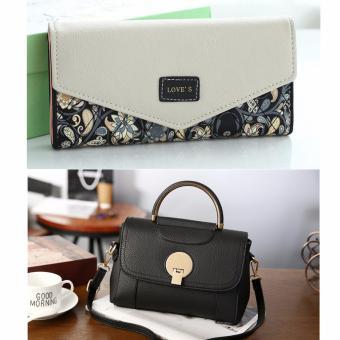 Bộ túi xách và ví da thời trang màu đen DT2203