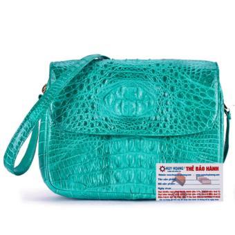 HL6211 - Túi xách da cá sấu Huy Hoàng hộp vuông màu xanh lá