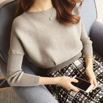 Áo len nữ tay cánh dơi (Xám)