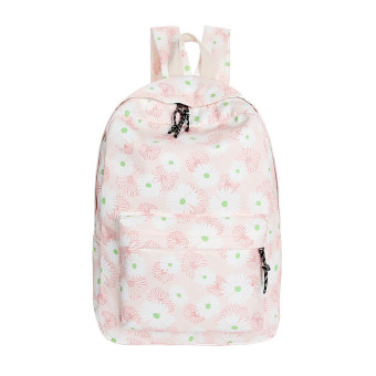 Women Double-Shoulder Sweet Printing Canvas Backpack Schoolbag Pink - Intl