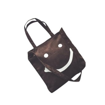 Smiling Face Portable Straw Bag Beach Women Tote Messenger Shoulder Bag - intl