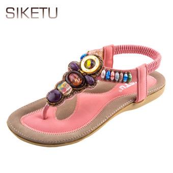 SIKETU Bohemia Beads Elastic Band Beach Flip-flop Sandals(Pink) - intl
