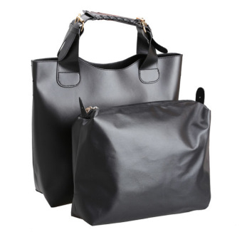 Euramerican Vintage Women Handbag Faux Leather Shopper Tote Bag Black (Intl)