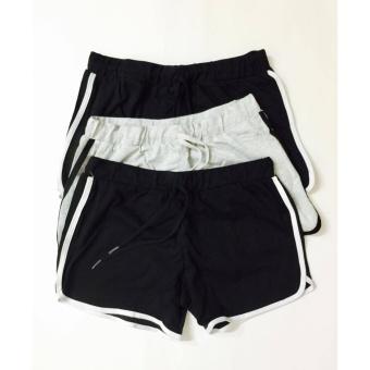 Combo 3 quần đùi nữ cotton dáng thể thao dây rút (đen, ghi)