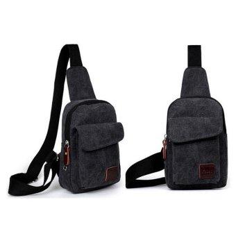 LALANG Casual Men Canvas Satchel Crossbody Bag Outdoor Travel Shoulder Bag Sling Chest Bag (Black) - intl