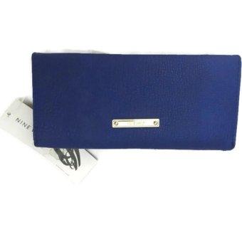 Túi da xanh cầm tay gấp ba Nine West blue trifold clutch bag (Mỹ)