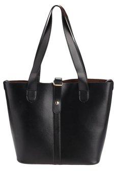 Sunweb Fashion Women Ladies Synthetic Leather Hasp Closure 2pcs Casual Tote Handbag Shoulder Messenger Bag(Black) - intl