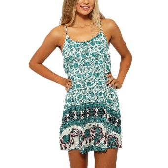 New Sexy Women Sun Dress Floral Elephant Print Spaghetti Strap Sleeveless Swing Beach Mini Dress - intl