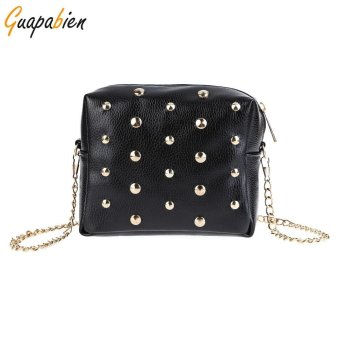 Rivet Embellishment Detachable Chain Geometric Mini Shoulder Messenger Bag - intl
