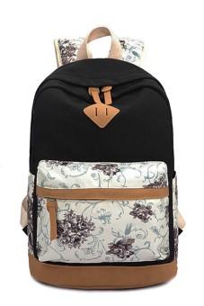 Flower Printed Multi-purpose Canvas Schoolbag School Outdoor Travel Backpack Tablet Laptop Carry Bag for Girls Student Black - intl