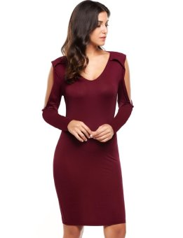 Cyber Women Casual Cold Shoulder Solid V Neck Pullover Sexy Stretchy Bodycon Dress ( Wine Red ) - intl