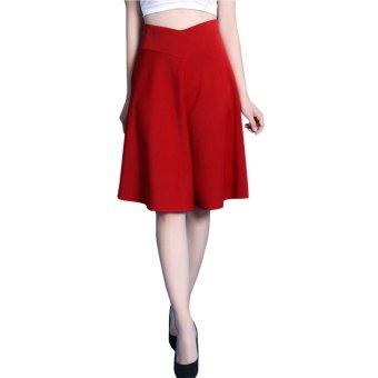 Chân váy dài lưng cao cách điệu Đỏ - V02115100