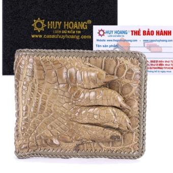 HL2721 - Bóp nam Huy Hoàng da cá sấu đan viền gù chân màu nâu đỏ