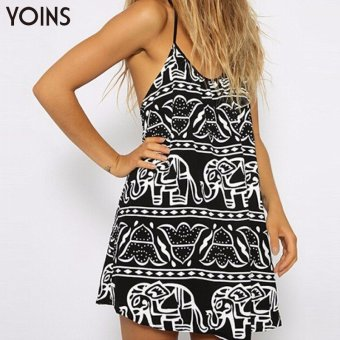 YOINS 2016 Women Boho Style Elephant Print Camis Dress Ladies Casual Strap A-line Dresses Sexy Night Club Party Dress Plus Size - intl