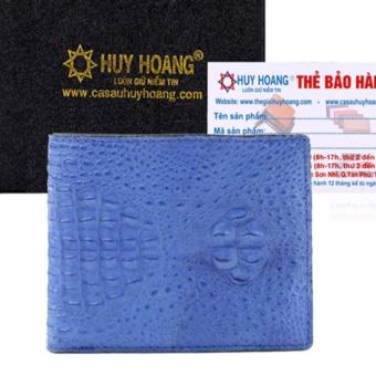 HL2253 - Bóp nam Huy Hoàng da cá sấu nguyên con nhỏ màu xanh dương