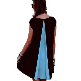 BOHO Womens Chiffon Summer Beach Casual Mini Cocktail Evening Swing Dress Skirt Blue - intl