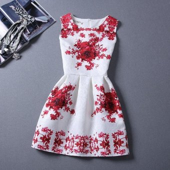 Women Mini Dress A-Line Round Collar Floral Print (Red) - Intl