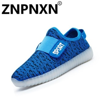Fashion Sneakers Comfort Children Usb Led Flash Casualsneakers Size 25-37(Blue) - intl