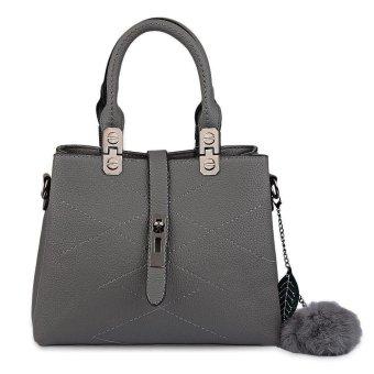 Guapabien Elegant Pom Pom Embellished PU Women Convertible Tote Bag(Grey) - intl