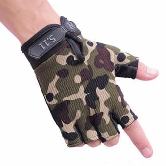 Găng tay hở ngón nam màu rằn rì quân đội